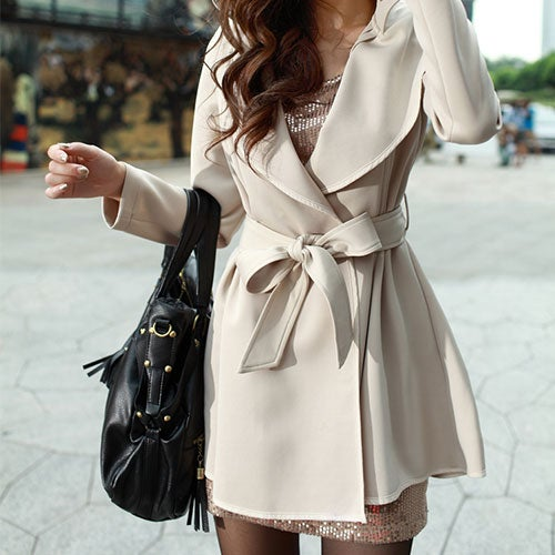Image of [grxjy560353]OL Style Sash Lapel Pure Color Trench Coat
