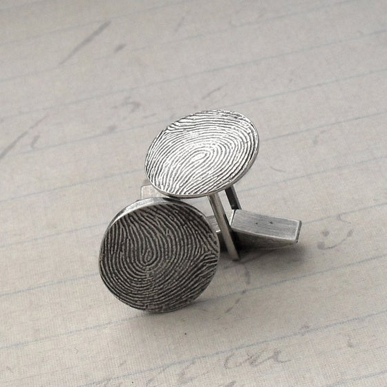 Image of Fingerprint Cufflinks in Fine and Sterling Silver (Style#801)