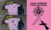 Image of Ann Arbor Firefighters - IAFF Local 693 - Breast Cancer Awareness T-Shirt (Black on Pink)