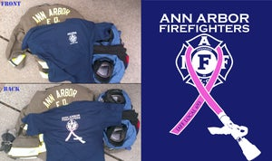 Image of Ann Arbor Firefighters - IAFF Local 693 - Breast Cancer Awareness T-Shirt (White/Pink on Navy Blue)