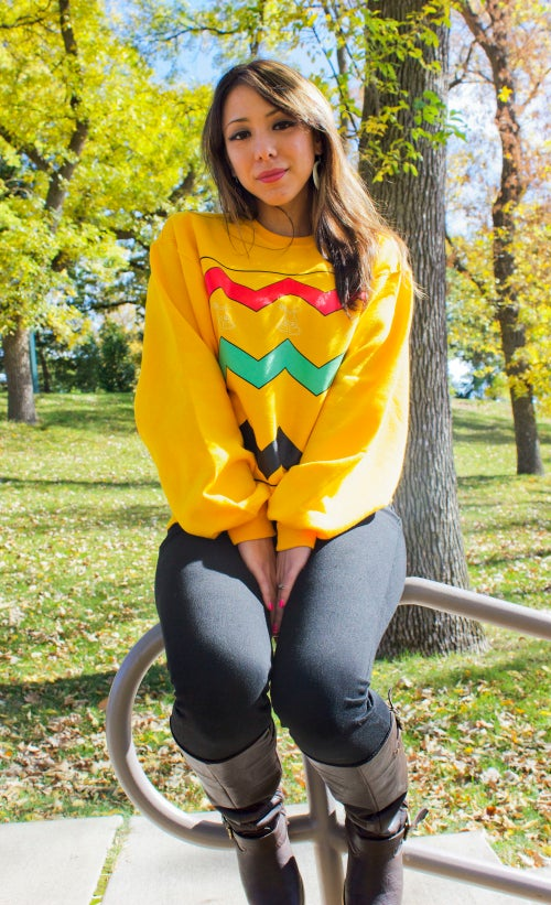 Image of CHARLIE MAB GOLD CREW NECK SWEATERS