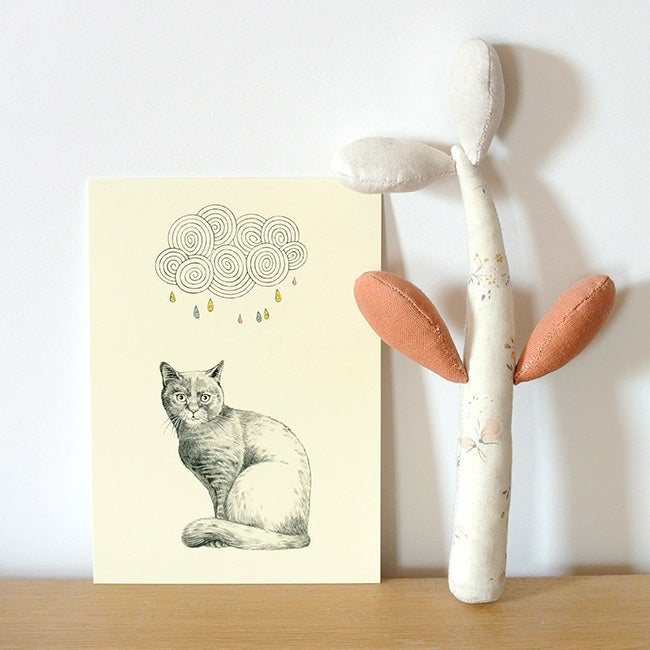 Image of Carte postale simple Chat et nuage
