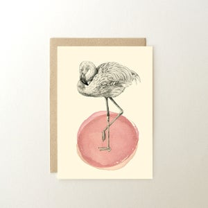 Image of Carte postale Flamant rose + enveloppe