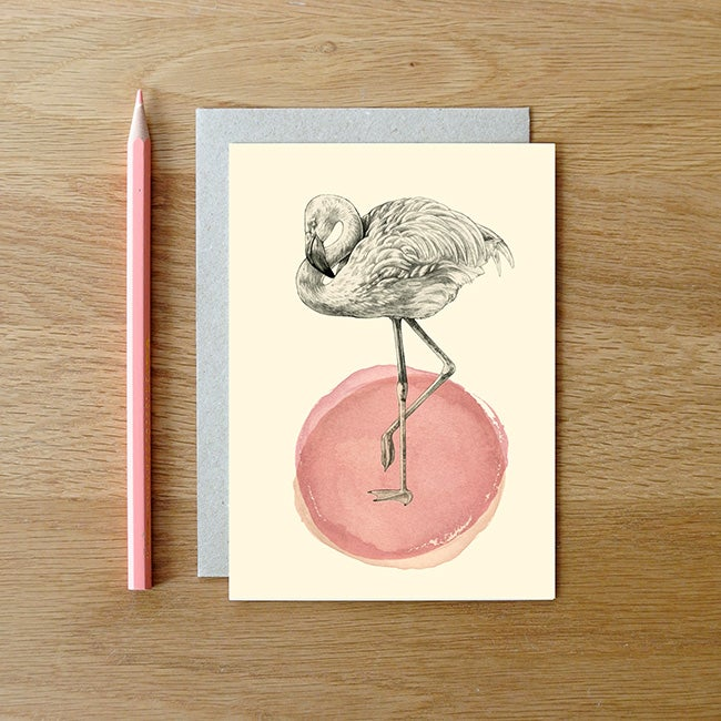 Image of Carte postale Flamant rose + enveloppe