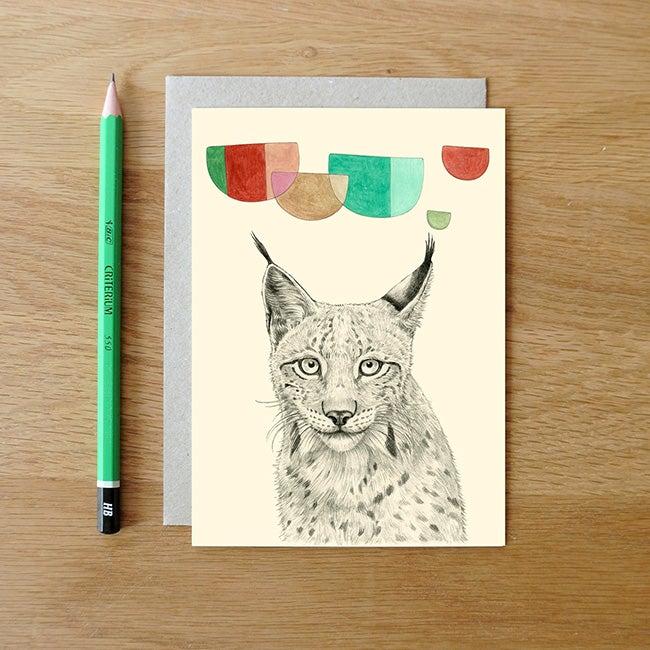 Image of Carte postale Lynx + enveloppe