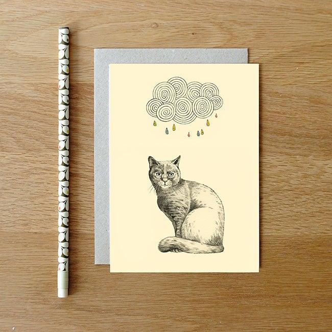 Image of Carte postale Chat et nuage + enveloppe