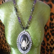 Image of Black & Cream Spider Cameo on purple, smokey-clear and black beads Halloween Horror Necklace