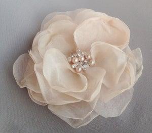 Image of Aria Pink Blush Silk Flower Rhinestone Gemstone and Pearl Bridal Hair Clip
