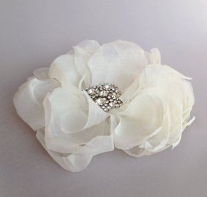 Image of Promise Ivory Silk Chiffon Flower Fascinator Rhinestone Bridal Hairpiece