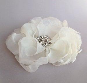 Image of Promise Ivory Silk Chiffon Flower Fascinator Rhinestone Bridal Hairpiece