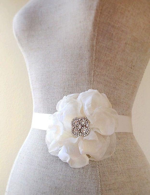 Image of Promise Ivory Silk Chiffon Flower Rhinestone Bridal Sash