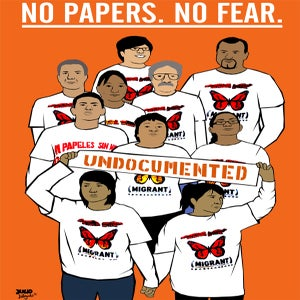 Image of No Papers No Fear - DNC Civil Disobedience Poster