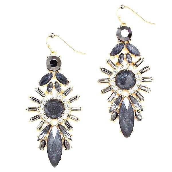 Image of Black Astroid Drop Earrings