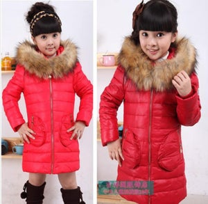 Image of Fur Collar Hooded Coat