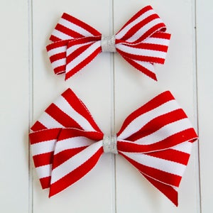 Image of Red Stripe Hair Bows