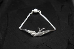 Image of Swallow bracelet in silver plated brass