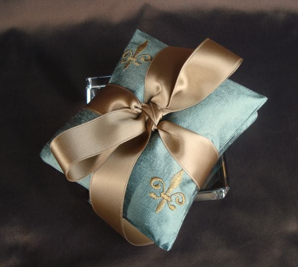 Image of Robin's Egg Blue Embroidered Silk Dupioni Fleur de Lis Dried Lavender Sachet