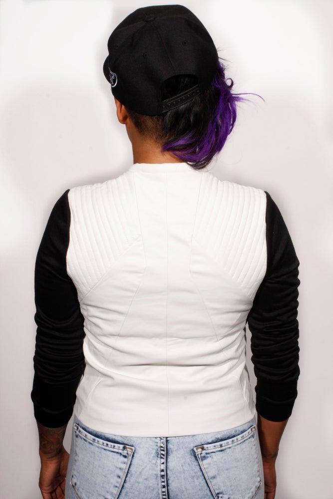 Image of Black and White Leather Jacket