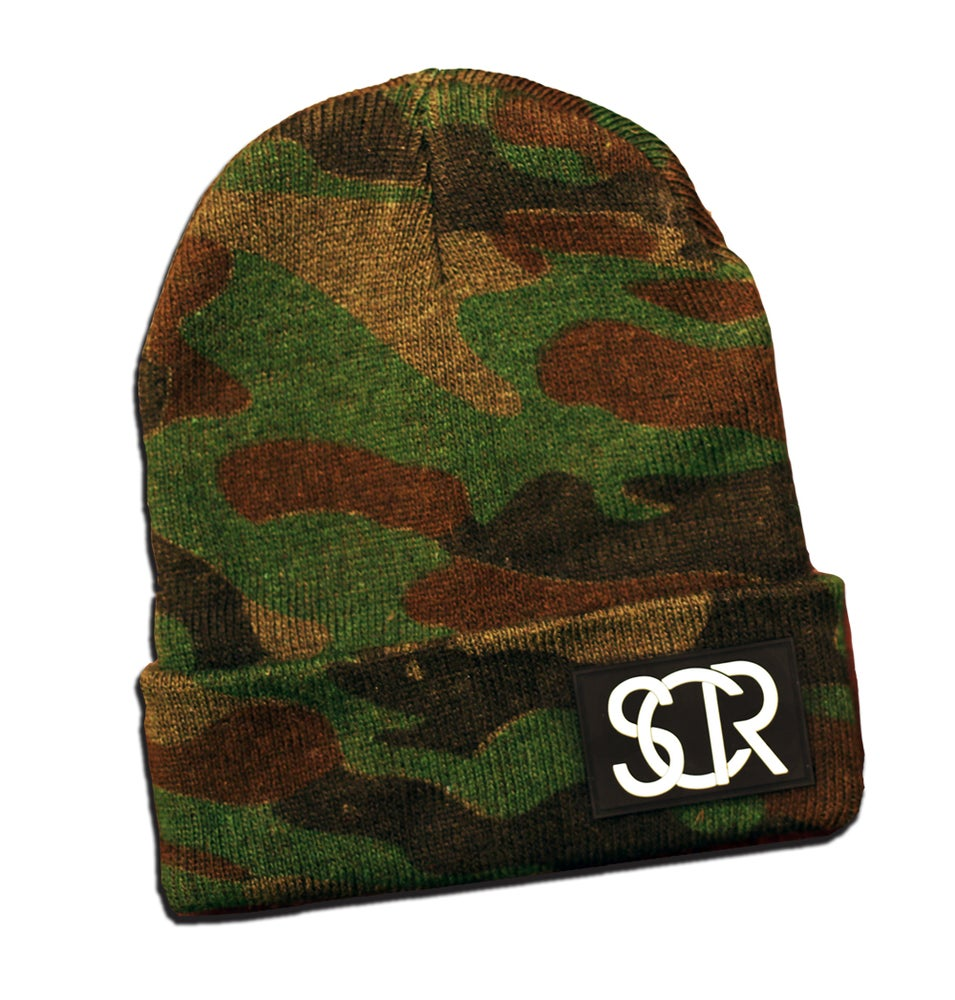 Image of Camo Cuff Patch Beanie
