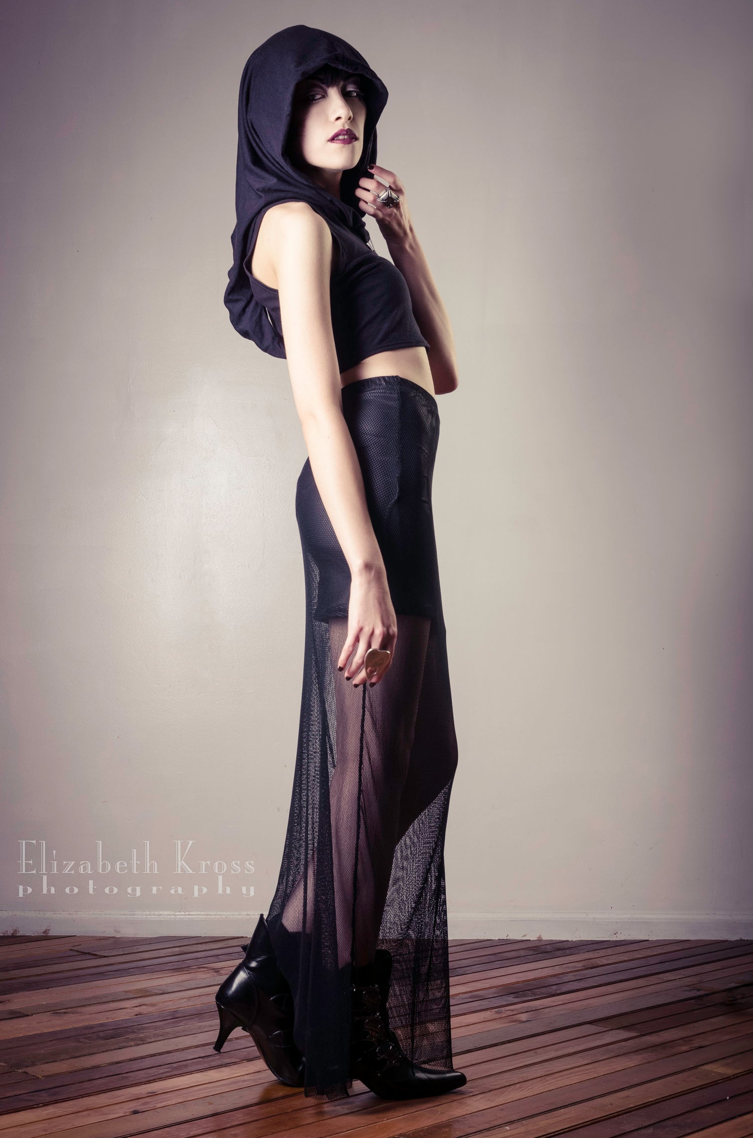 Image of Witchy Crop top with lamb leather panel or faux leather