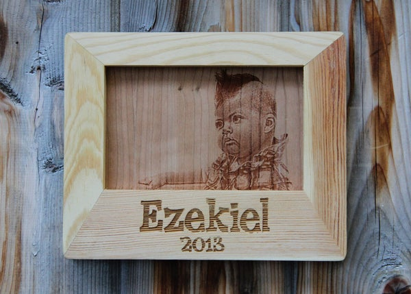 Image of Custom Photo Engraved on Wood with Personalized Frame - 4 x 6""