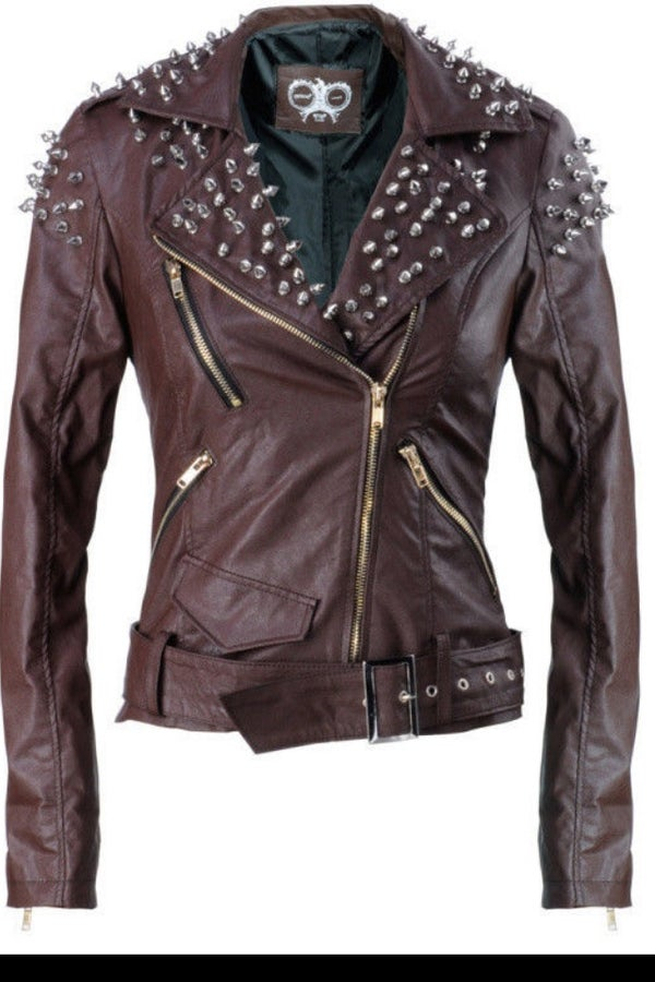 Image of Cocoa SPIKE Cropped Motorcycle Jacket
