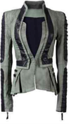 "Image of Denim/Leather Zip Sleeve Tuxedo Jacket  ""PRE-ORDER"