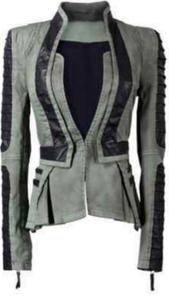 "Image of Denim/Leather Zip Sleeve Tuxedo Jacket  ""PRE-ORDER"