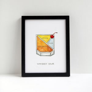 Whiskey Sour Cocktail Print by Alyson Thomas of Drywell Art. Available at shop.drywellart.com