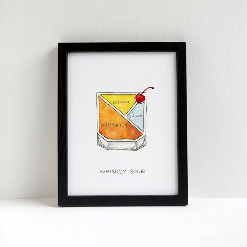 Whiskey Sour Cocktail Print   Drywell Art