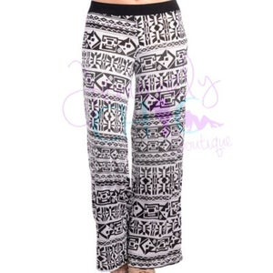 Image of Wide leg black and white pants with Aztec print