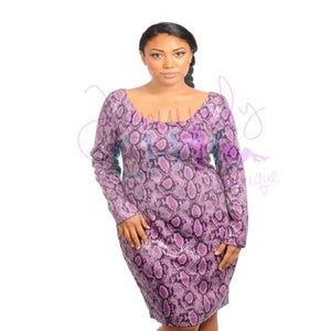 Image of Purple snake skin faux leather dress