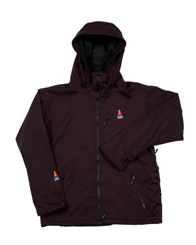 Image of ANTERO II GORETEX HYBRID BLACK CHERRY WATERPROOF BREATHABLE WINDPROOF JACKET MADE IN COLORADO