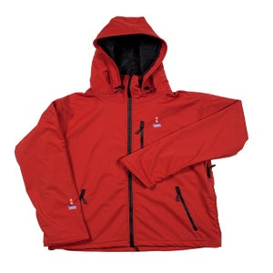 Image of ANTERO II GORETEX HYBRID CAYENNE BRICK RED WATERPROOF BREATHABLE WINDPROOF JACKET MADE IN COLORADO