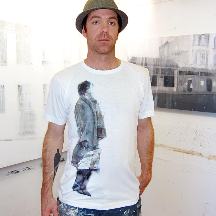 Image of WAITER #13 - men's white t-shirt by Brett Amory