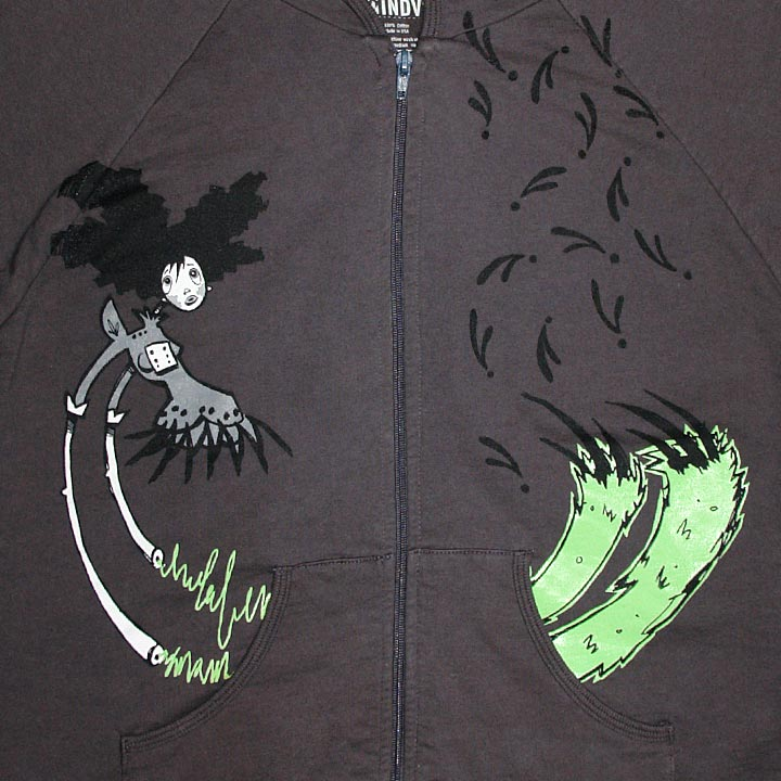 Image of UP IN ARMS - women's asphalt gray glow in the dark hoodie by Lesley Reppeteaux