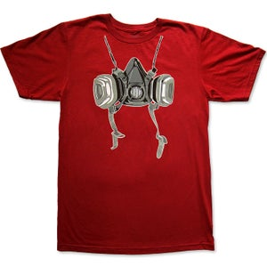 Image of RESPIRATOR - men's blood red t-shirt by Logan Hicks