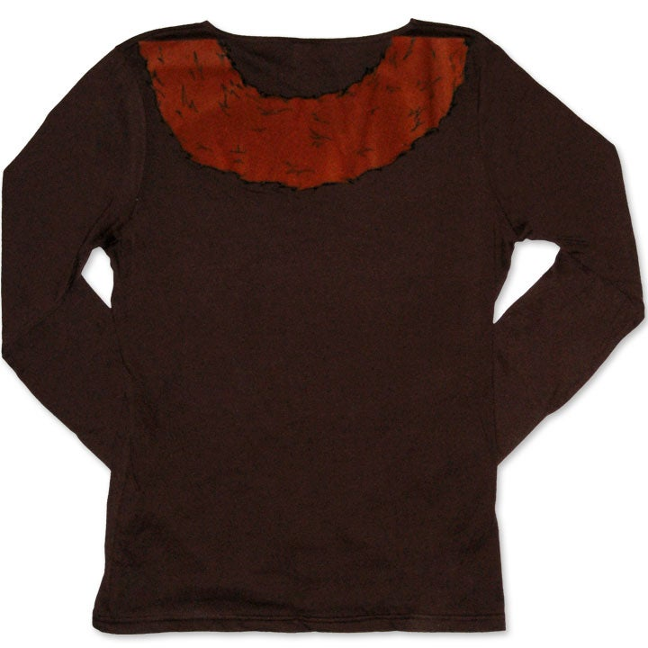 Image of FAUX FOXY - women's brown boat-neck long sleeve