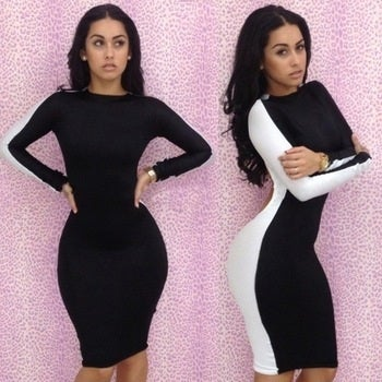 Image of Black & White Backless Bodycon Dress