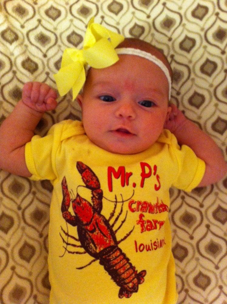 Image of BABY Crawfish Onesie in Yellow or Gray