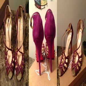 Image of $1095 CHRISTIAN LOUBOUTIN MIGNONS GLITTER PURPLE SUEDE SANDALS 40