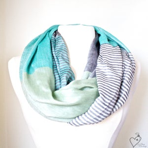 Image of Color Block Green Mint silky infinity Scarf