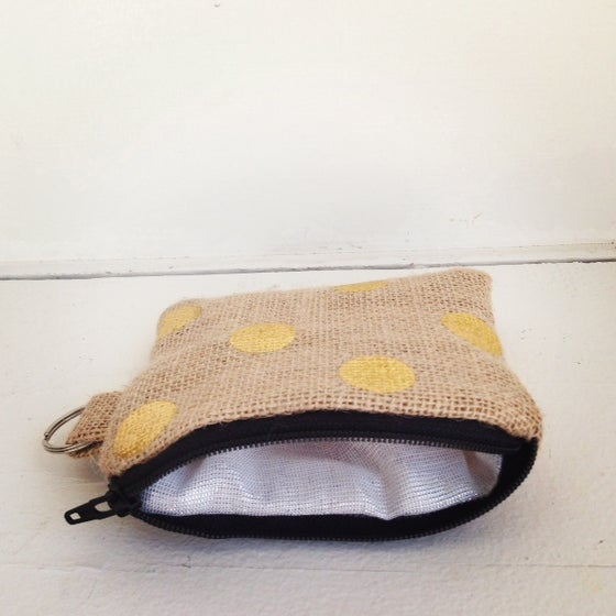 Image of Gold Burlap Card Case