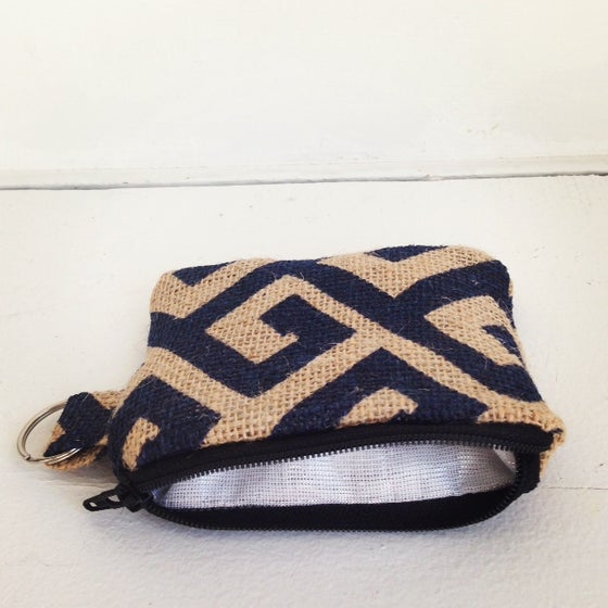 Image of Navy Burlap Card Case