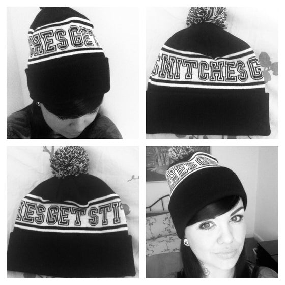 Image of SNITCHES GET STITCHES knitted bobble hat