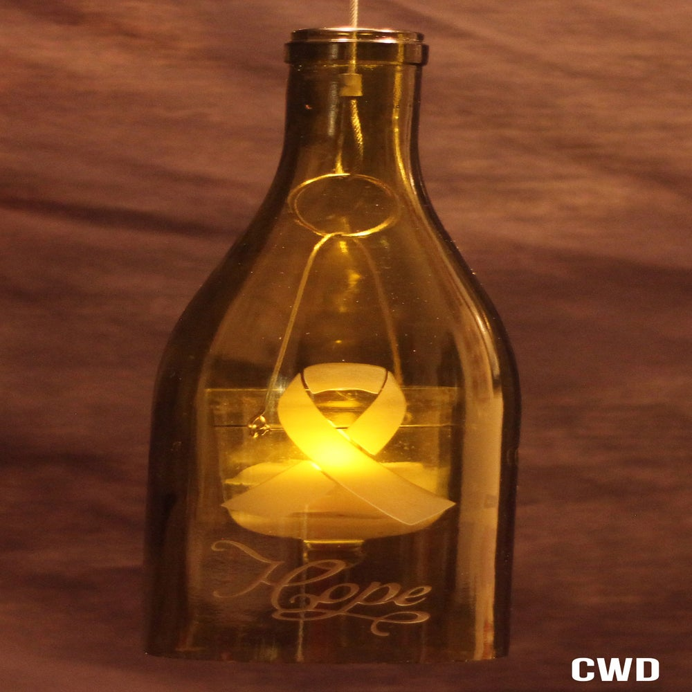 Image of Breast Cancer Ribbon Hanging Wine Bottle Lantern