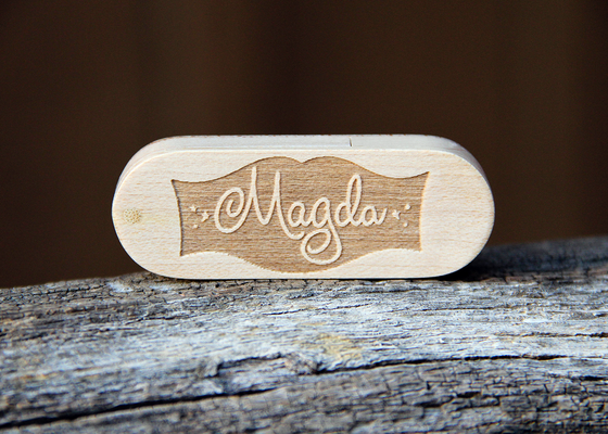Image of  Personalized Folding Wood USB Flash Drive - 4 GB, 8 GB, and 16 GB