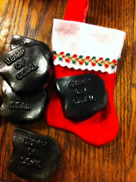 Image of Holiday Lump of Coal Soap, comes with stocking. For anyone who has been naughty...or nice!