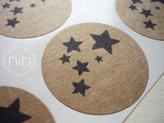Image of stickers #kraft# nuée d'étoiles Ø3,1cm