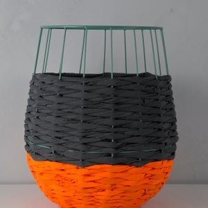 Image of Woven Paper Basket ORANGE